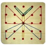 Бабочка из резинок на математическом планшете