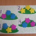 Кусты с разным количеством цветочков, рядом с каждым кустом цифра