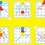 Фигурки, выложенные на планшете с системой координат
