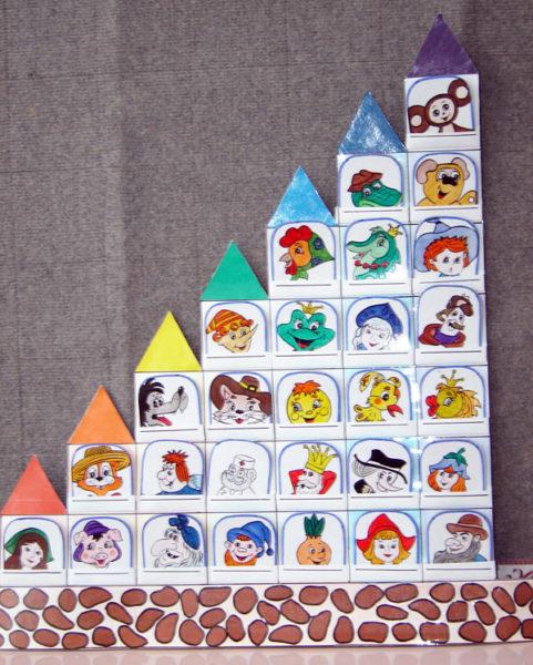 Гостиница-домик: персонажи в окошках, несколько этажей, число окошек уменьшается от 7 к 1 по этажам, у каждого этажа свой цвет