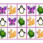 Табличка с повторяющимися фигурками зверей в ячейках : карточка для счёта