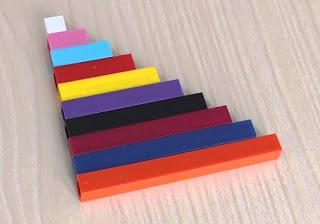 Лесенка из разноцветных палочек разной длины (каждая палочка — ступенька)