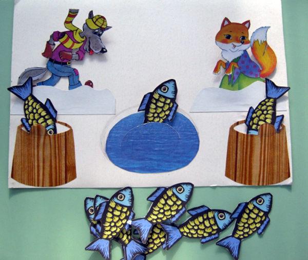 Рыбалка (бумажный волк, лиса, рыбки)