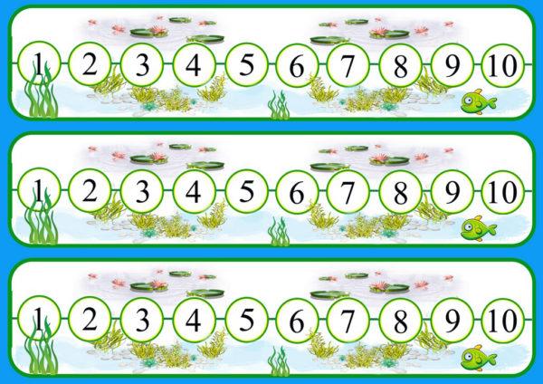 Цифры от 1 до 10 в горизонтальной цепочке кругов, цепочки повторяются трижды, одна над друой