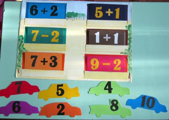 Карточки с математическими примерами и цветные машинки с цифрами