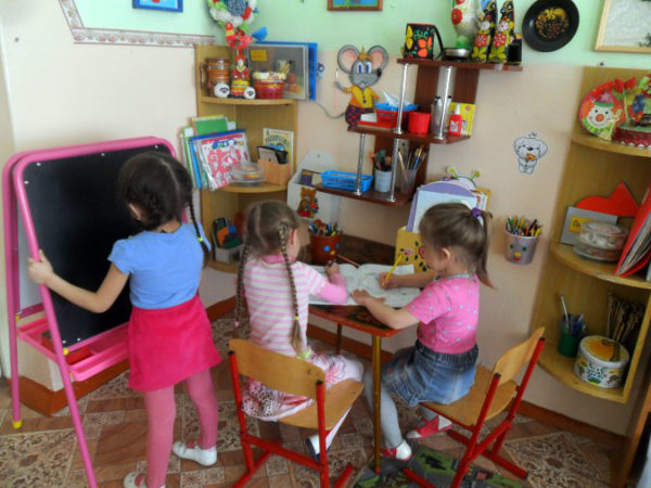 Зона рисования в детском саду