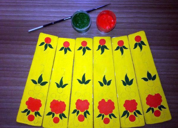 Цветы и кружочки на заготовках