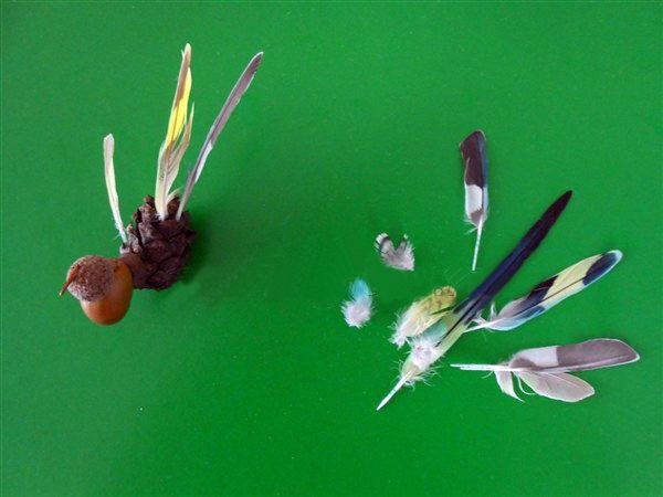 Перья отдельно и вставленные в поделку-птичку