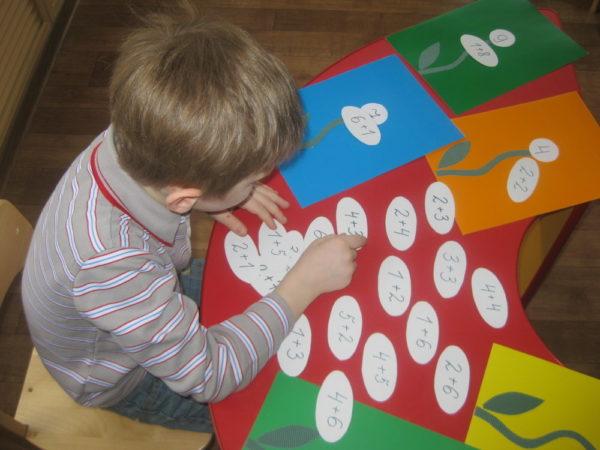Ребёнок подбирает арифметические примеры для цветочков с цифрами-итогами