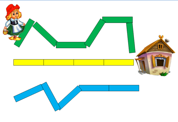 Рисунок: ломаные линии-дорожки к домику бабушки