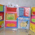 Лэпбук в развороте: множество кармашков с карточками