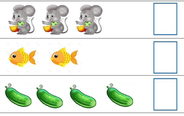 Изображения для игры «Посчитай и найди цифру»