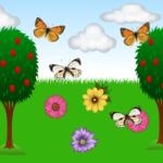 Коллаж из деревьев и бабочек на фоне пейзажа