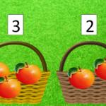Коллаж: две корзинки с яблоками и цифрами