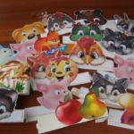 Маски-ободки с картинками зверушек и фруктов