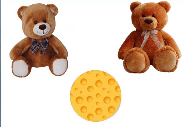 Пара плюшевых медвежат и нарисованный сырный круг