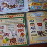 Раскрытая книжка с набором для проведения детского праздника, страница с Репкой
