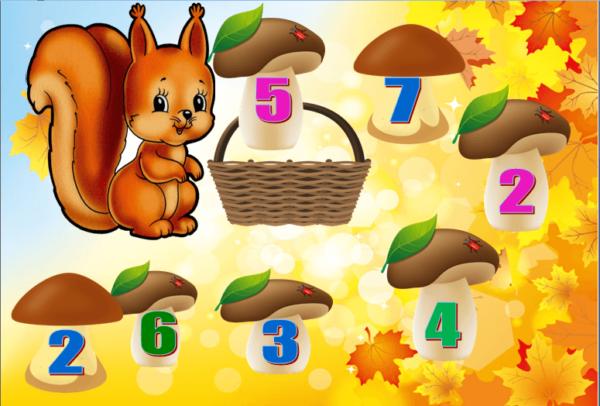 Изображение для дидактической игры: грибы с цифрами и белка