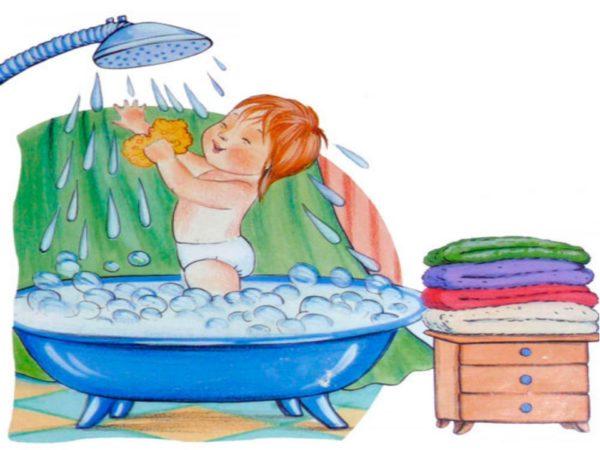 Рисунок: ребёнок с улыбкой моется