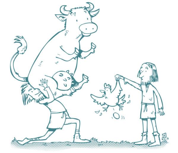 Рисунок: натуральный обмен (корову на курицу)