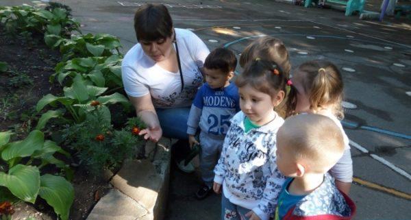 Воспитательница показывает пятерым ребятам цветы в палисаднике