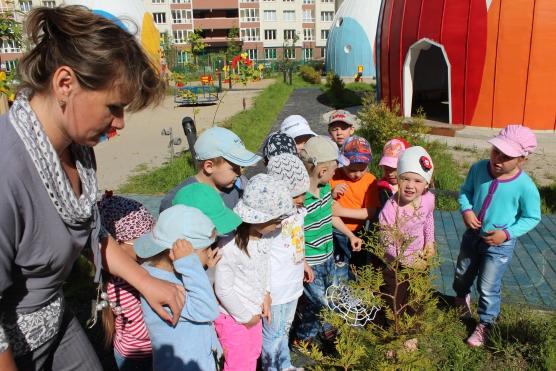 Воспитательница в сером платье и дети рассматривают деревце