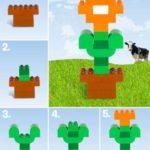 Схема для конструирования «Цветок в горшке» из Лего-конструктора
