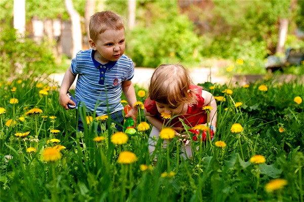 Дети на улице нюхают цветы