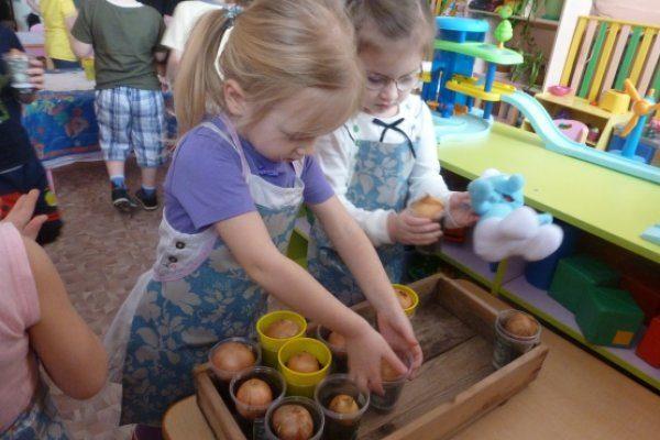 Дети сажают лук