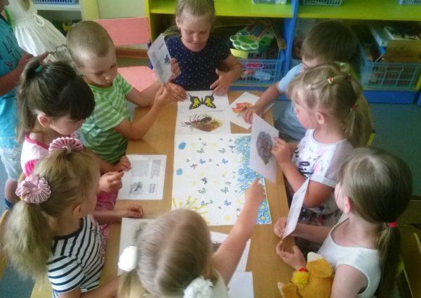 Дети сидят за столом и рассматривают картинки с насекомыми