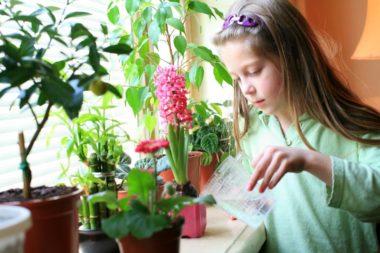 Девочка поливает цветок