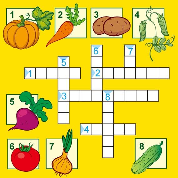 Пример экологического кроссворда с овощами