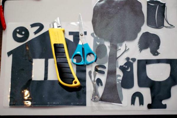 Готовые детали для театра теней, ножницы и канцелярский нож