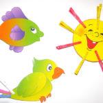 Попугай, солнце и рыбка для игры с прищепками