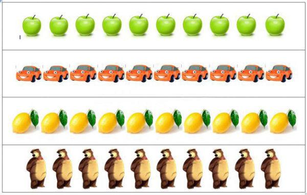 Лист с четырьмя рядами картинок: яблоки, автомобили, лимоны, медведи