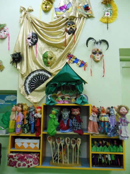 Экспонаты мини-музея маски в театральном уголке