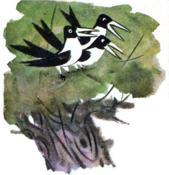 Иллюстрация к сказке В. Осеевой «Три сороки»