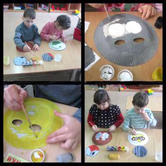 Дети раскрашивают тарелки
