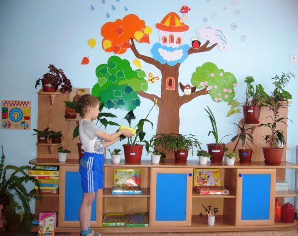 Ребёнок ухаживает за растениями в уголке природы
