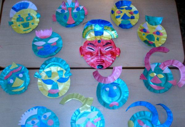 Весёлые маски из раскрашенных одноразовых тарелок