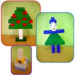 Яблоня, печка, девочка, выполненные из Лего-конструктора