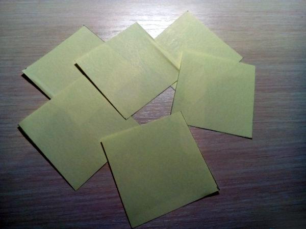 Заготовки-квадратики из цветной бумаги