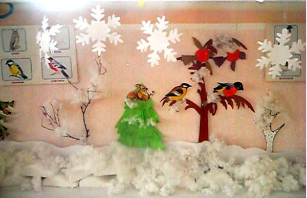 Зимний уголок с бумажными снежинками и снегом из ваты