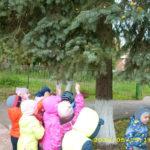 Дети стоят под большой елью и протягивают руки к иголкам
