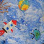 Детский рисунок-аппликация на космическую тему