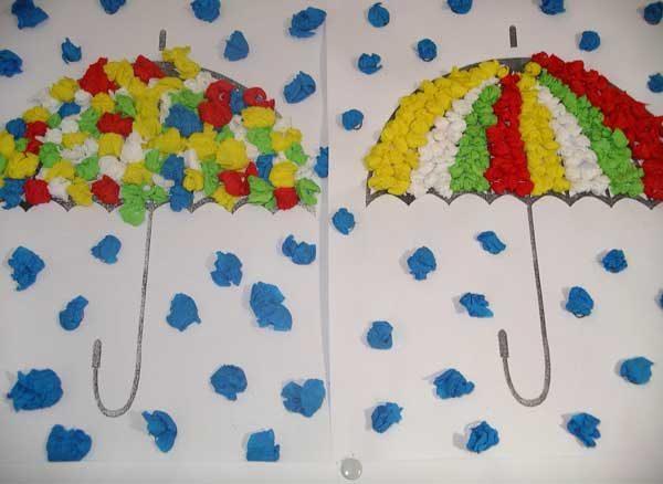 Два зонтика, выполненные в технике аппликации из бумажных салфеток