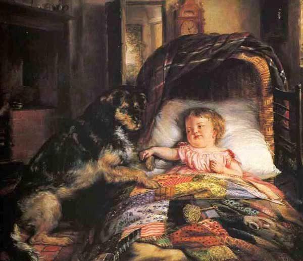 Картина акварелью с изображением собаки и девочки, лежащей под лоскутным одеялом