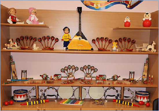 Музыкальный уголок с балалайкой, деревянными ложками, бубнами и др