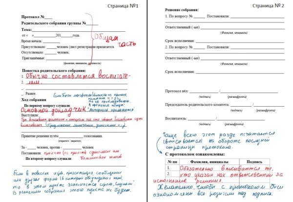 Образец протокола родительского собрания