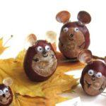 Мышки из каштанов и ракушек